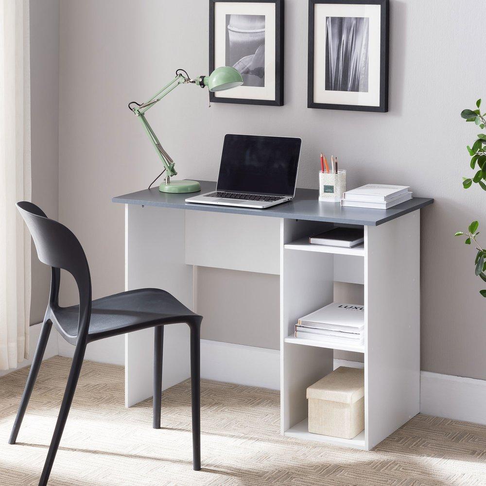 Bureau - Bureau avec rangements 101x50x75 cm gris et blanc photo 1