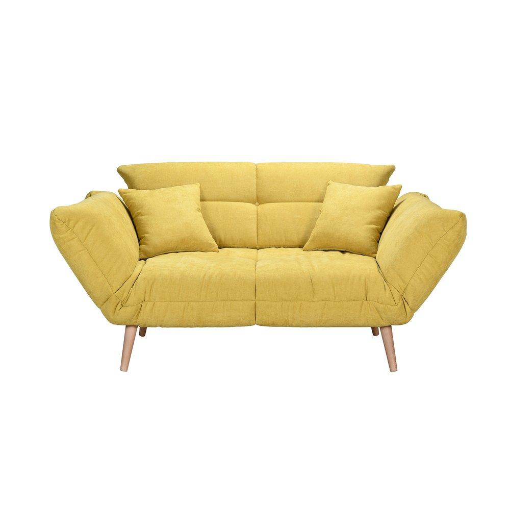 Banquette - Canapé-lit 2 places 80 cm en tissu jaune - COBALT photo 1