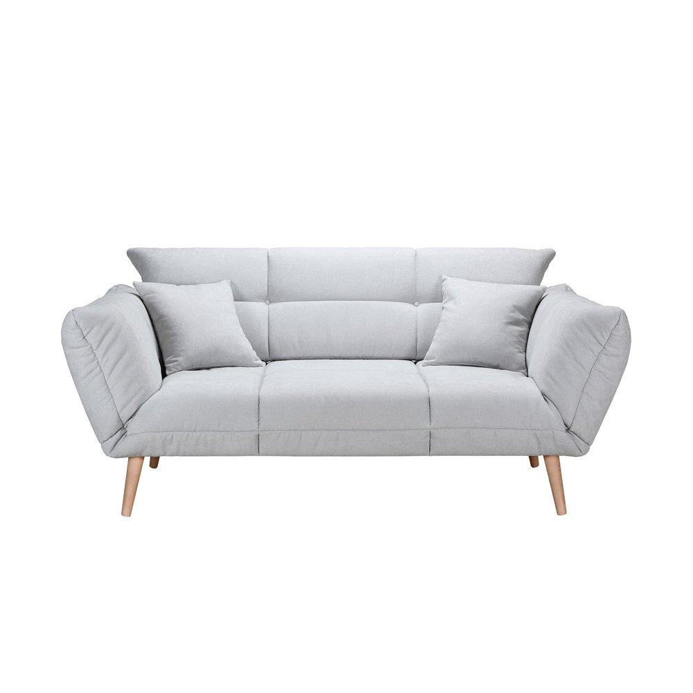 Banquette - Canapé-lit 2,5 places 80 cm en tissu gris clair - COBALT photo 1