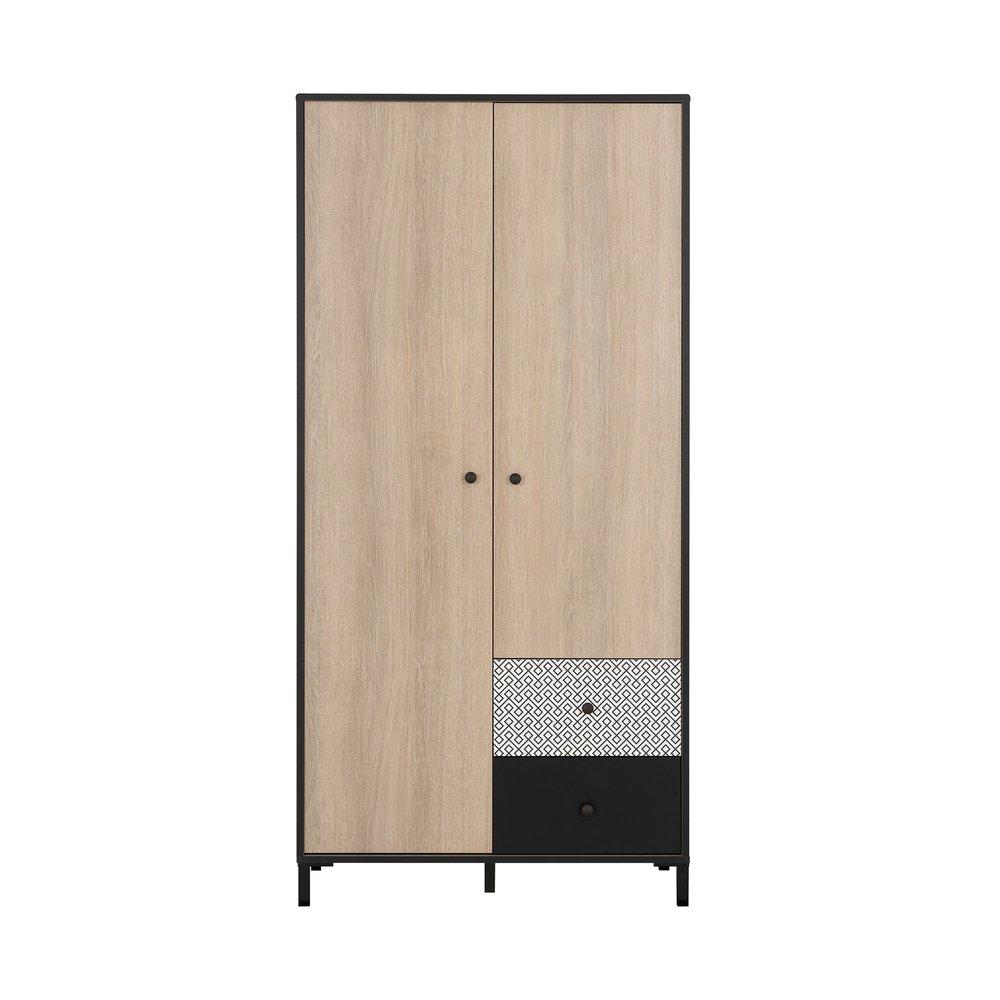 Armoire - Armoire 2 portes et 2 tiroirs décor chêne clair, noir et blanc - UNDO photo 1