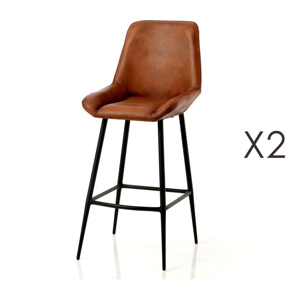 Tabouret de bar - Lot de 2 chaises de bar 46x54x85 cm en cuir et métal photo 1