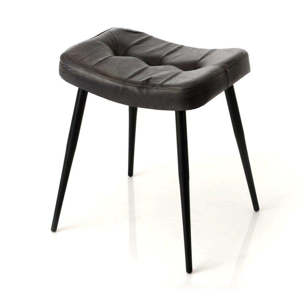 Tabouret - Tabouret 43x39x46 cm en cuir noir photo 1