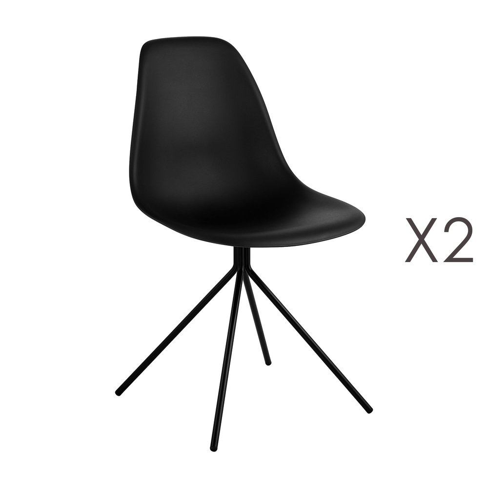 Chaise - Lot de 2 chaises repas noires et pieds en métal noir - LUCIE photo 1