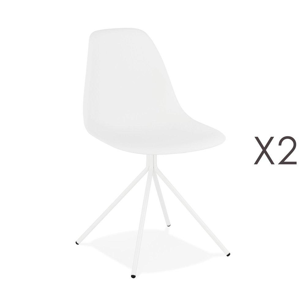 Chaise - Lot de 2 chaises repas noires et pieds en métal blanc - LUCIE photo 1