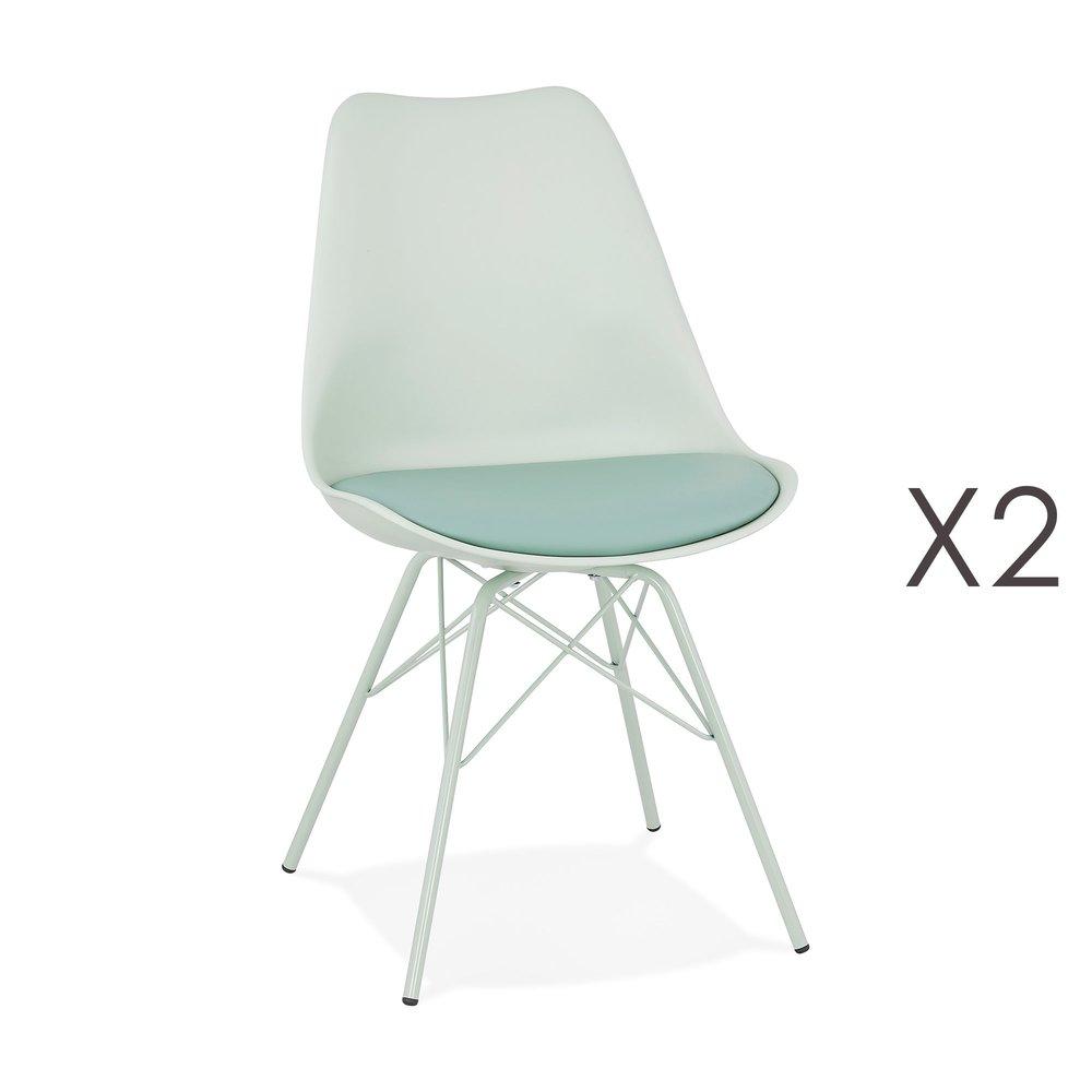 Chaise - Lot de 2 chaises repas en PU et métal bleu clair - LUCIE photo 1