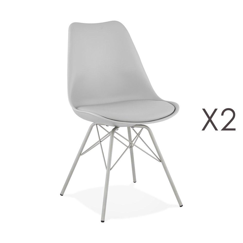 Chaise - Lot de 2 chaises repas en PU et métal gris clair - LUCIE photo 1