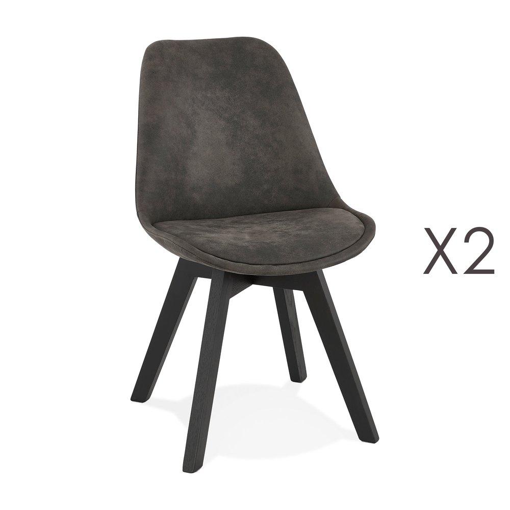 Chaise - Lot de 2 chaises repas en tissu gris foncé et pieds noirs - SARAH photo 1