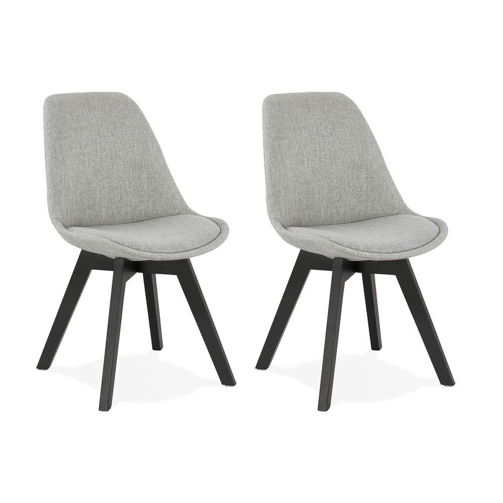 Chaise - Lot de 2 chaises repas en tissu gris clair et pieds noirs - SARAH photo 1