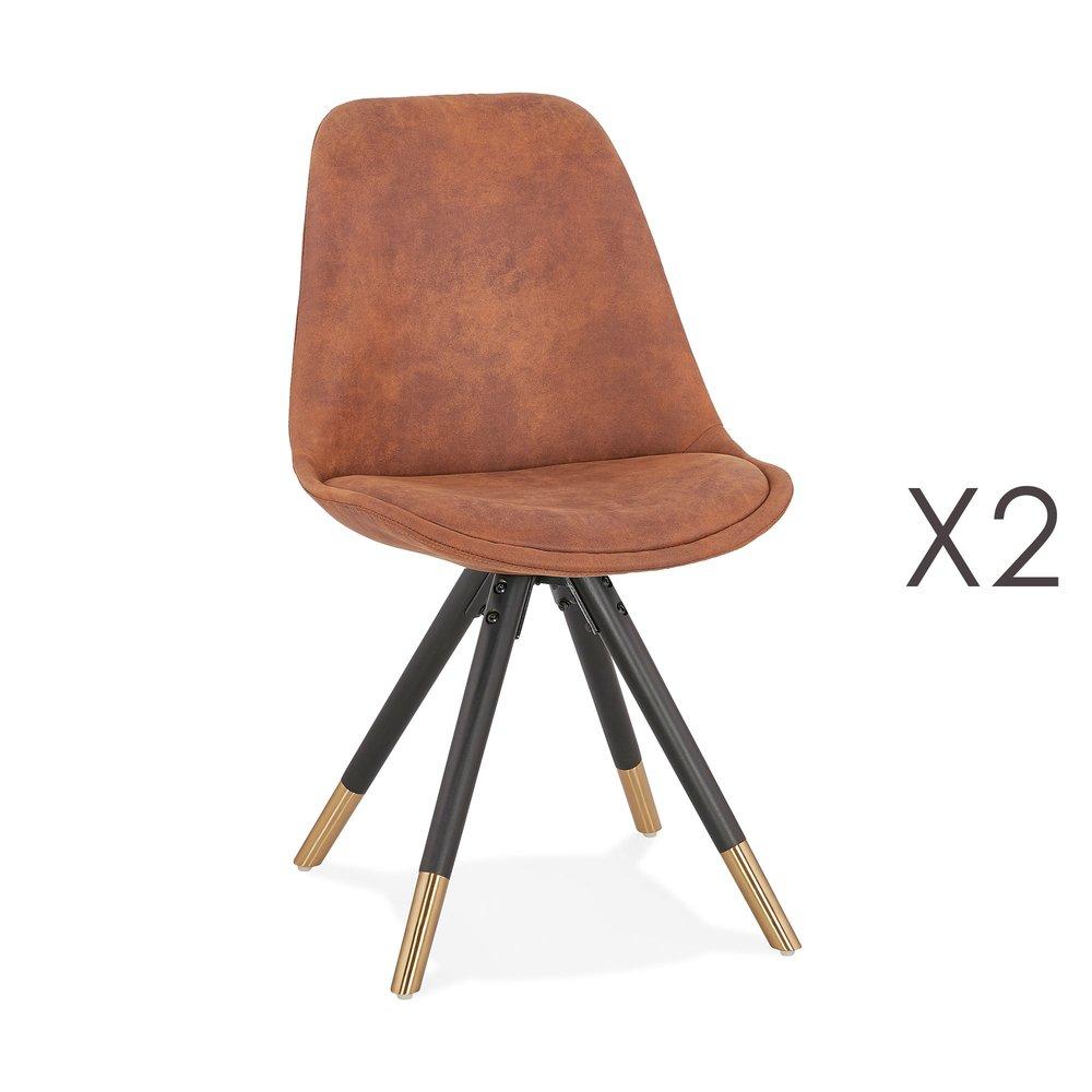 Chaise - Lot de 2 chaises repas en tissu marron et pieds noirs - KRAFT photo 1