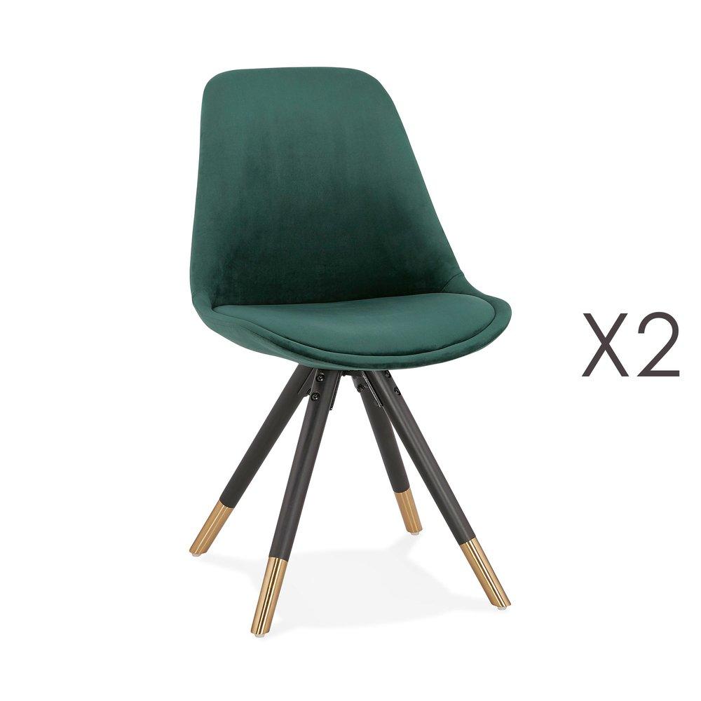 Chaise - Lot de 2 chaises repas en tissu vert et pieds noirs - KRAFT photo 1