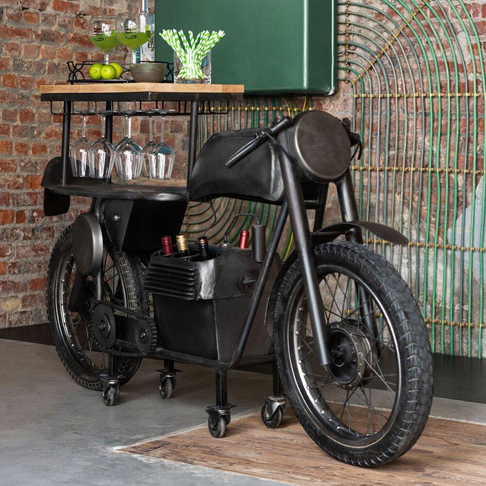 Bar - Bar piètement  motocycle 200x43x100 cm en bois et métal - ROAD photo 1