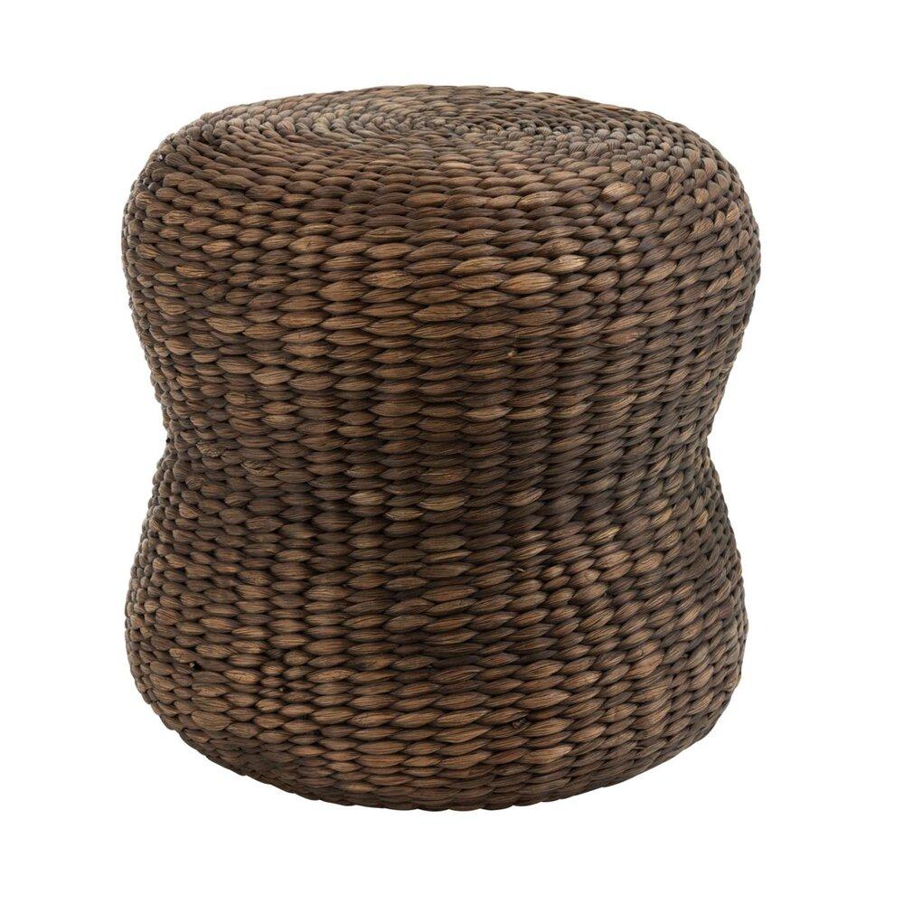 Tabouret - Tabouret rond 40 cm en jacinthe d'eau brun photo 1