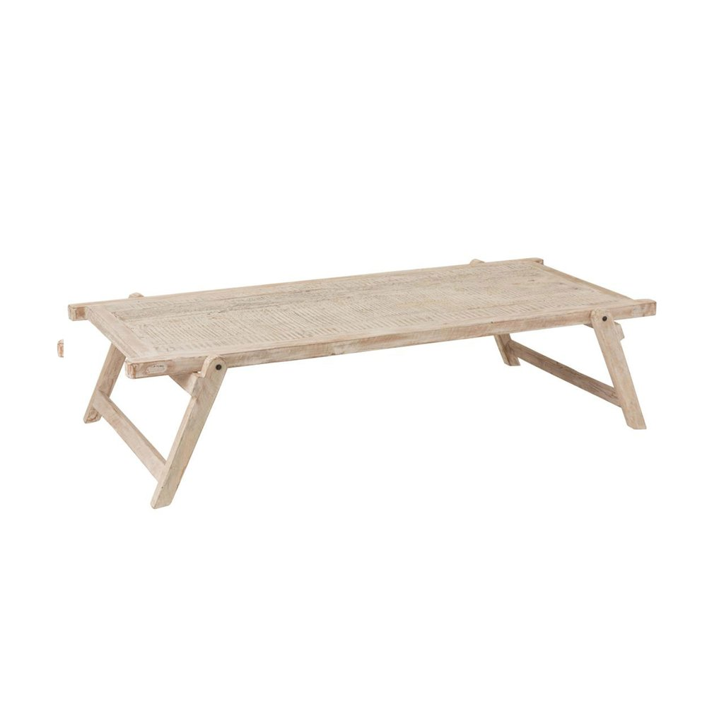 Chambre - Table pour lit 181x86x42 cm en bois recyclé délavé blanc photo 1