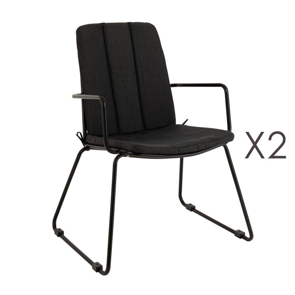 Meuble de jardin - Lot de 2 chaises de jardin avec coussin 59,5x61,5x86 cm en métal noir photo 1