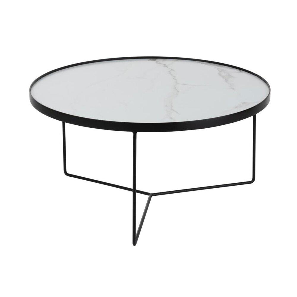 Table basse - Table basse ronde 80 cm en bois blanc et métal photo 1