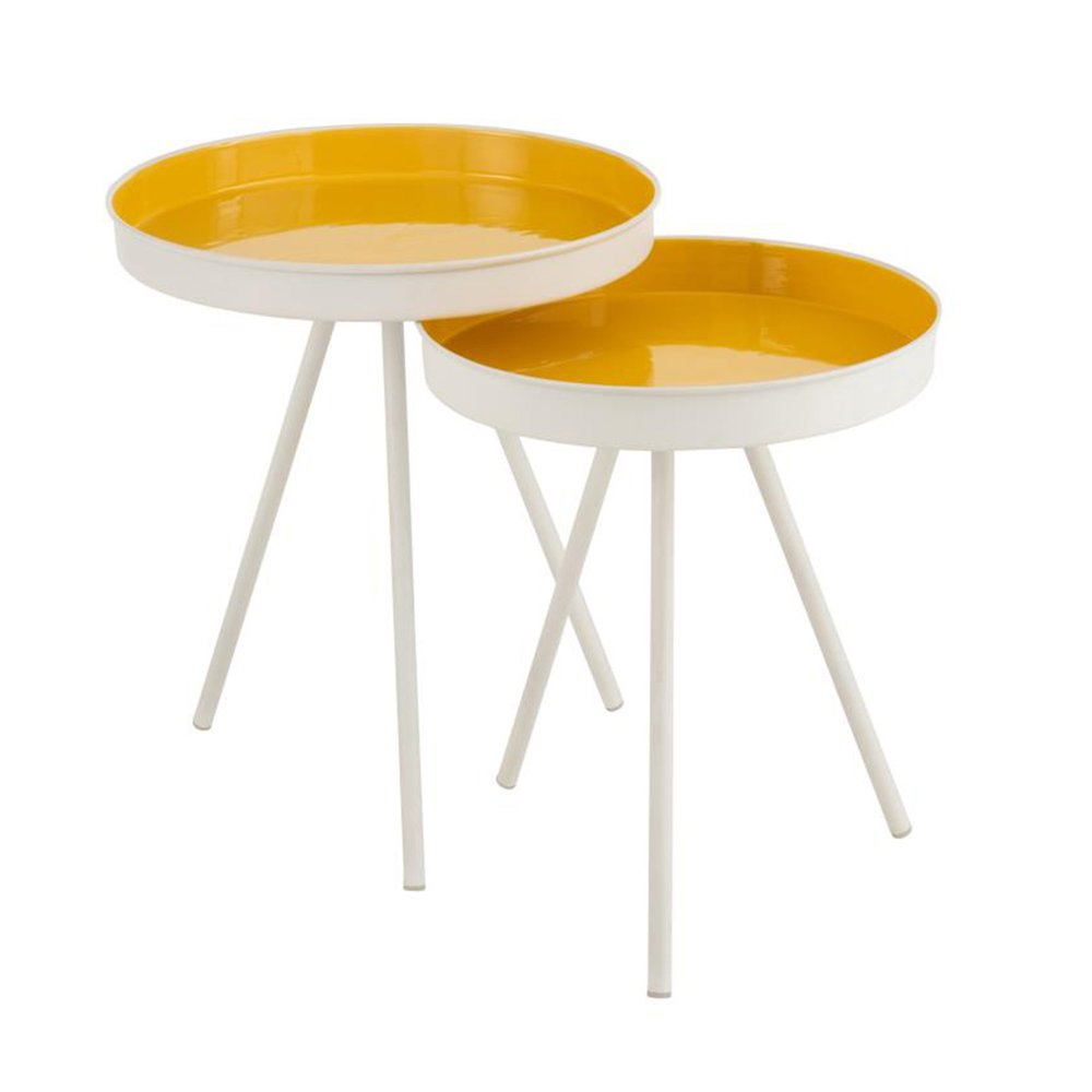 Table basse - Lot de 2 tables d'appoint rondes en métal laqué blanc et jaune photo 1
