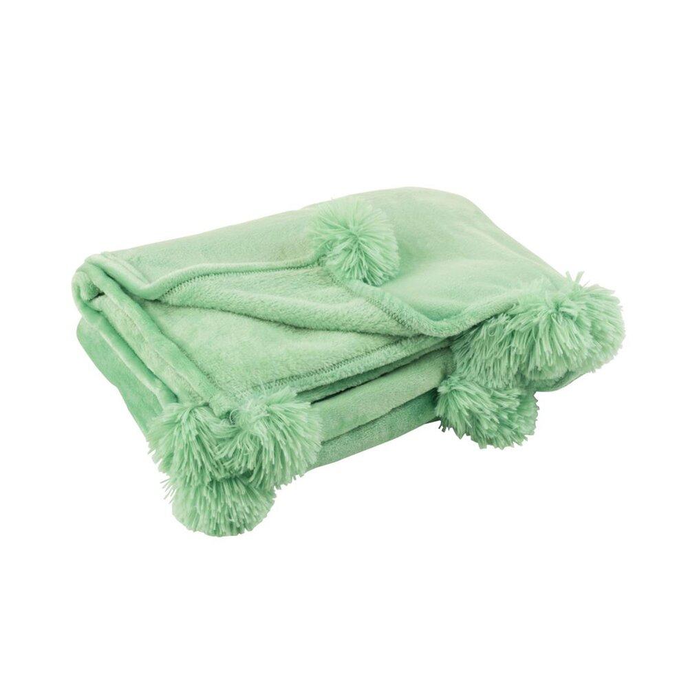 Couvre-lits et accessoires - Plaid 130x170 cm en polyester vert d'eau avec pompons - PANDO photo 1