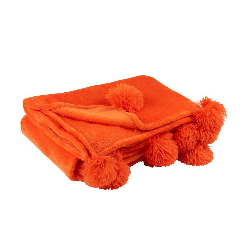 Couvre-lits et accessoires - Plaid 130x170 cm en polyester orange avec pompons - PANDO photo 1