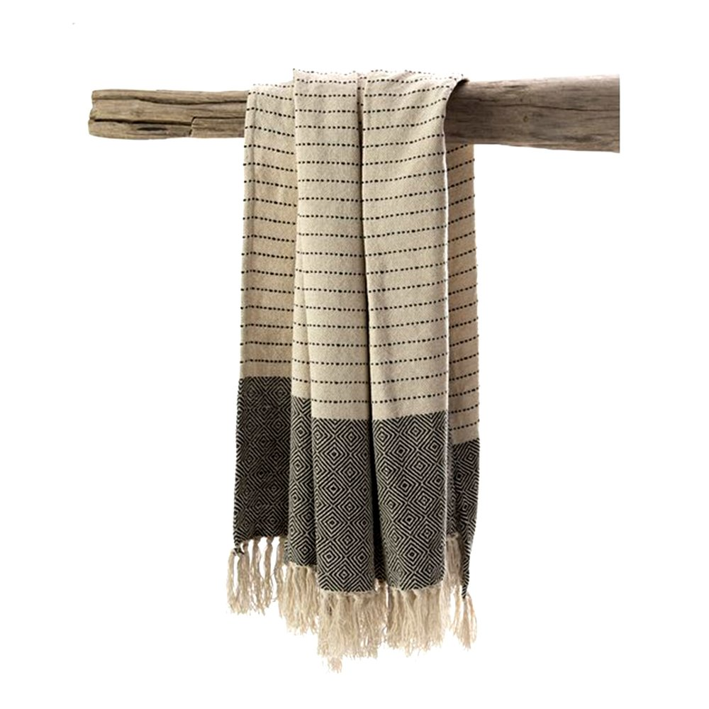 Couvre-lits et accessoires - Plaid tissé 150x130 cm en coton blanc et noir - MANDY photo 1