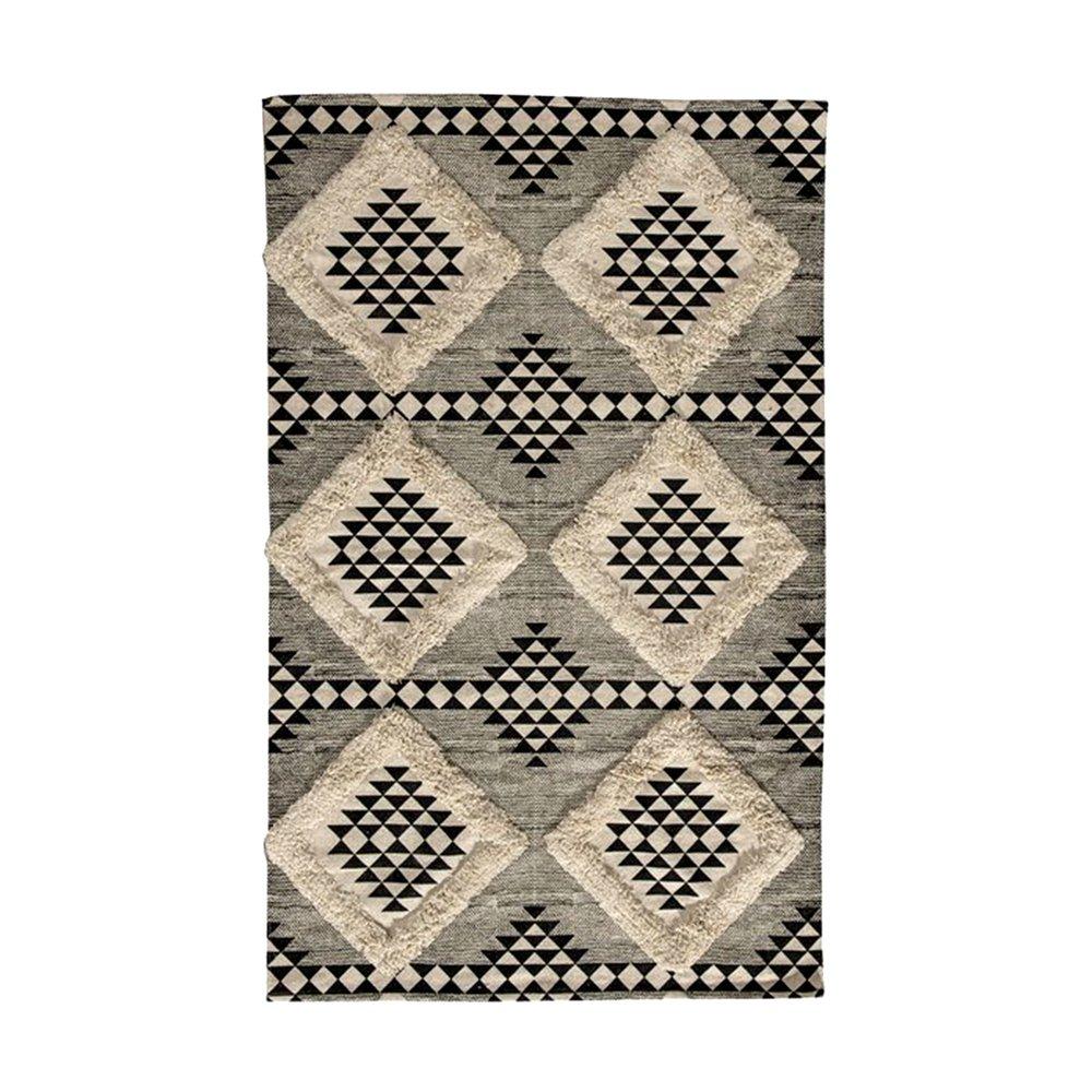 Tapis - Tapis imprimé tufté 180x120 cm en coton blanc et noir - MANDY photo 1