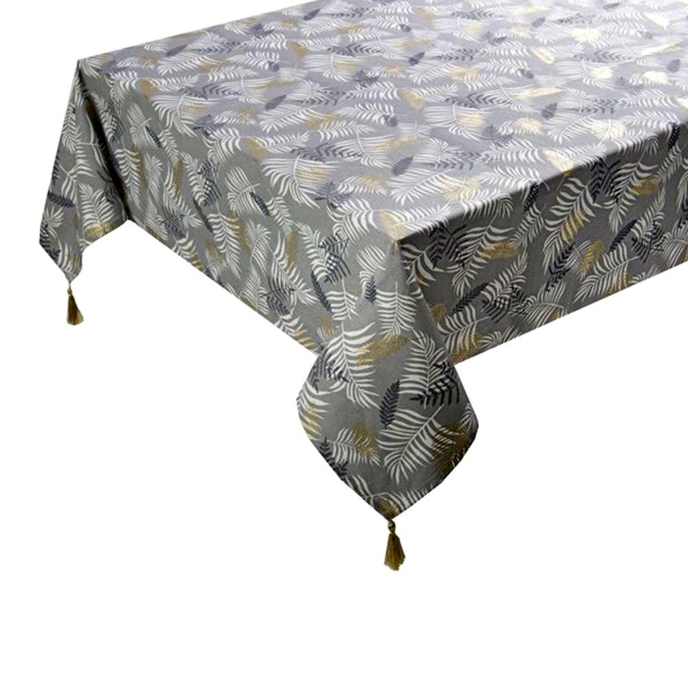 Linge de table - Nappe 250x140 cm en coton gris et doré - GREYSI photo 1