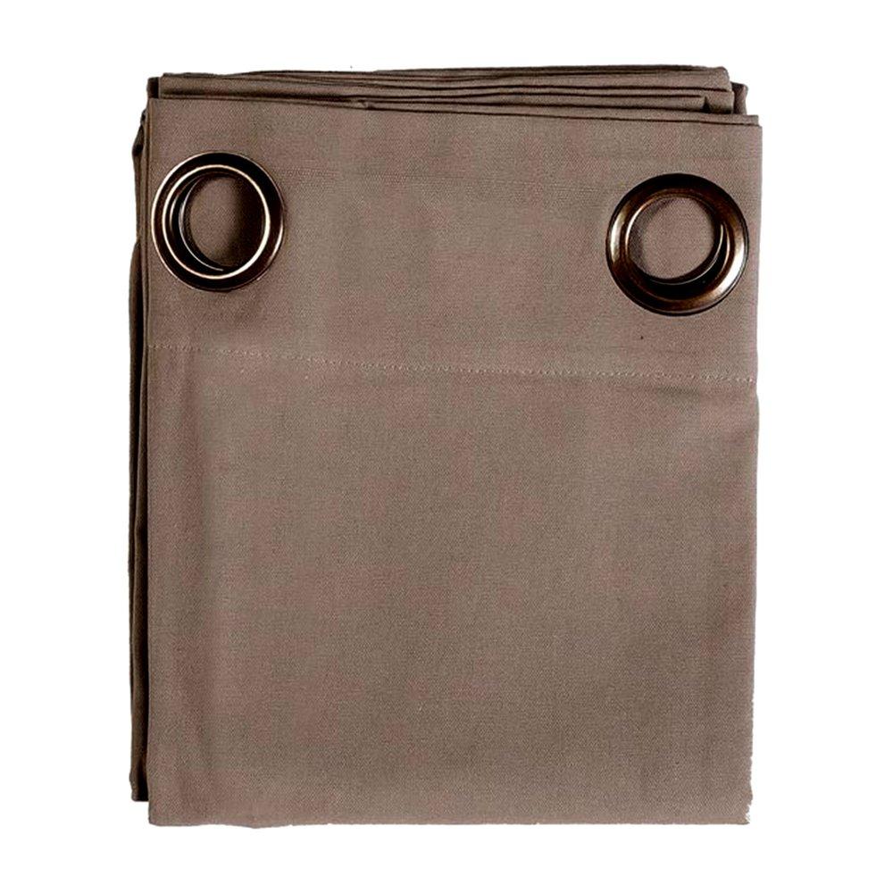 Rideaux - Rideau à œillets 135x250 cm en coton taupe - YUNI photo 1