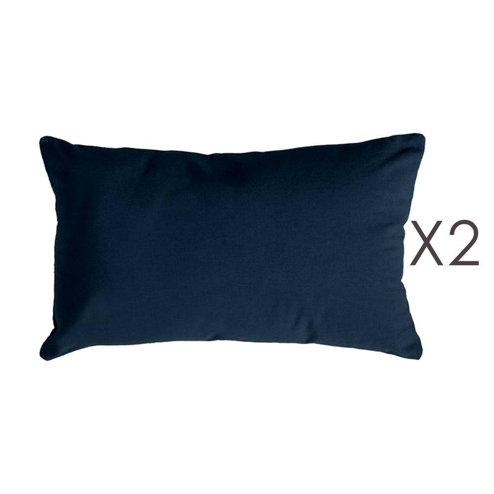 Coussin - Lot de 2 coussins 50x30 cm en coton bleu foncé - YUNI photo 1
