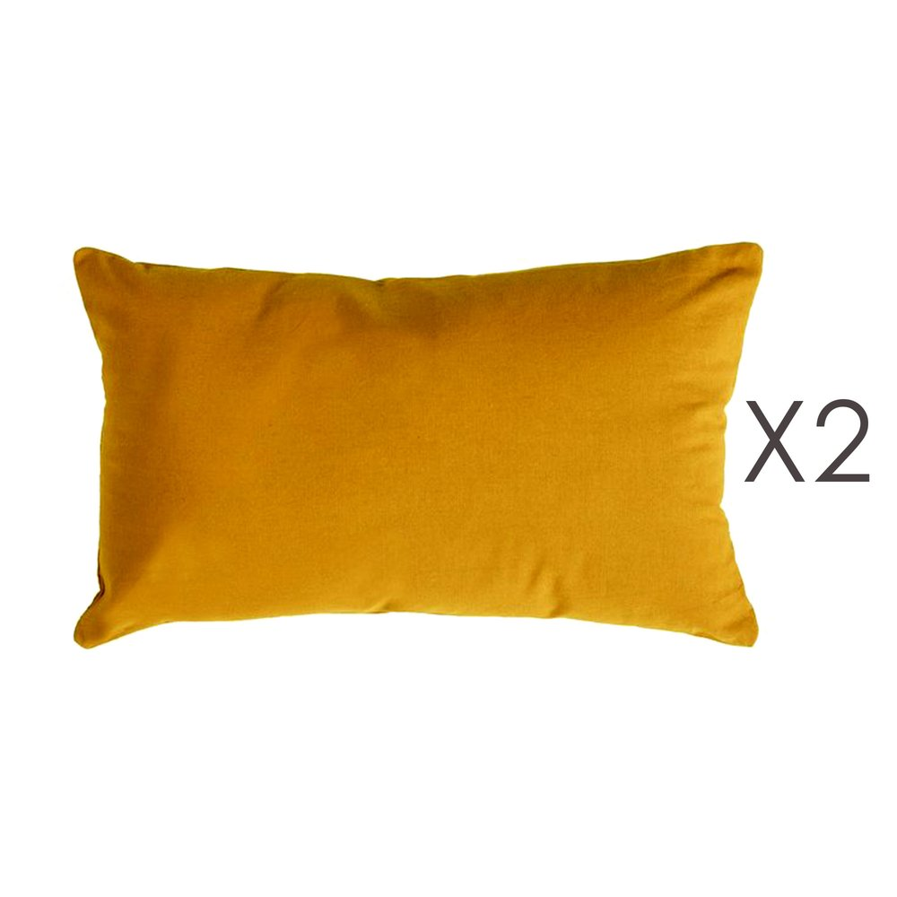 Coussin - Lot de 2 coussins 50x30 cm en coton curry - YUNI photo 1