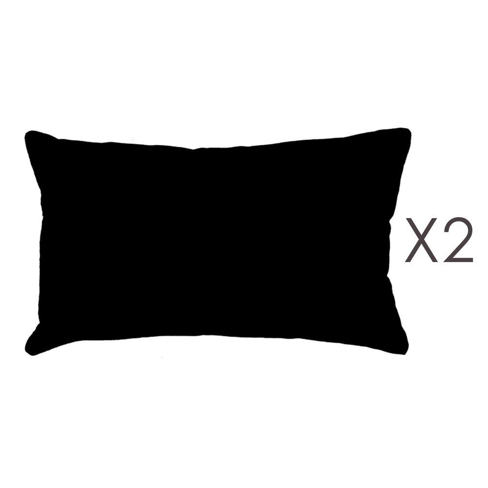 Coussin - Lot de 2 coussins 50x30 cm en coton noir - YUNI photo 1
