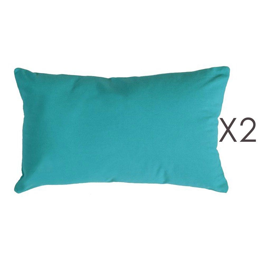 Coussin - Lot de 2 coussins 50x30 cm en coton turquoise - YUNI photo 1
