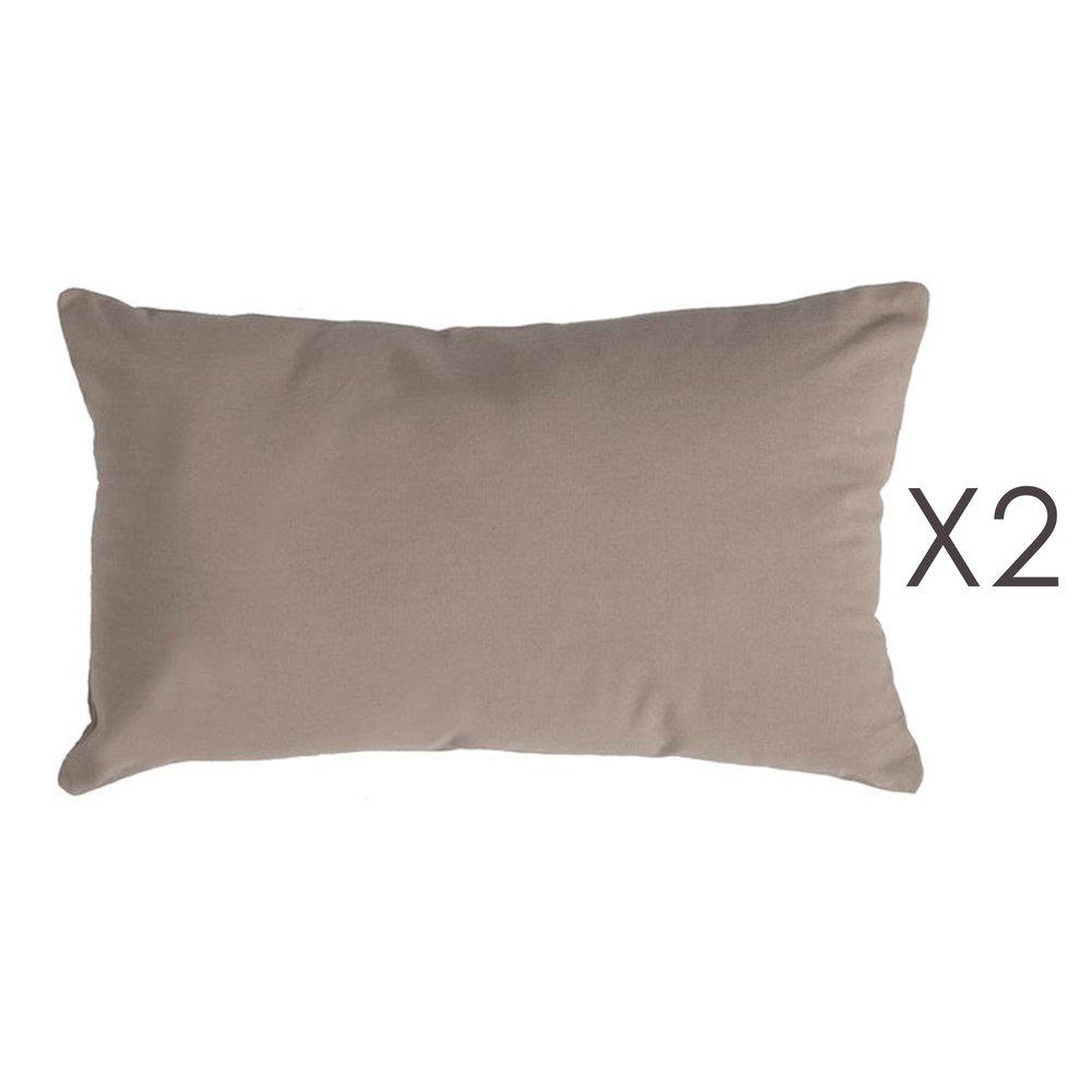 Coussin - Lot de 2 coussins 50x30 cm en coton taupe - YUNI photo 1