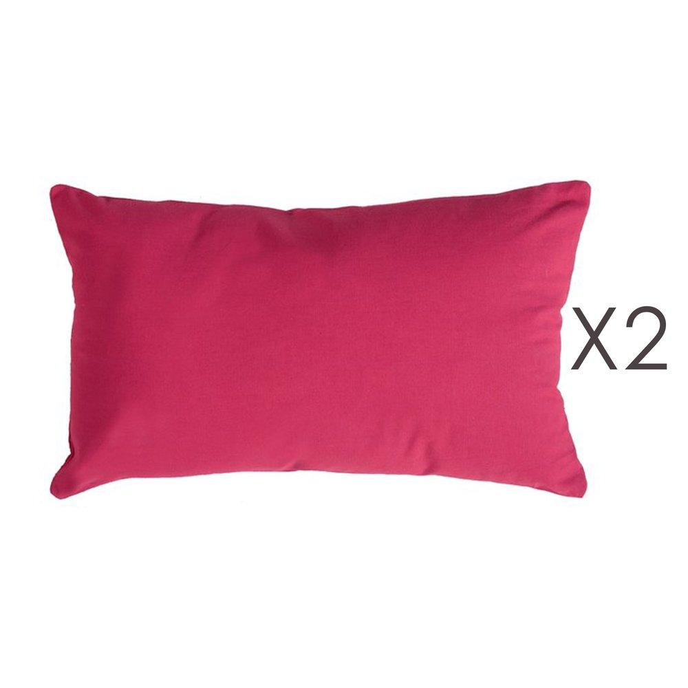 Coussin - Lot de 2 coussins 50x30 cm en coton fuchsia- YUNI photo 1