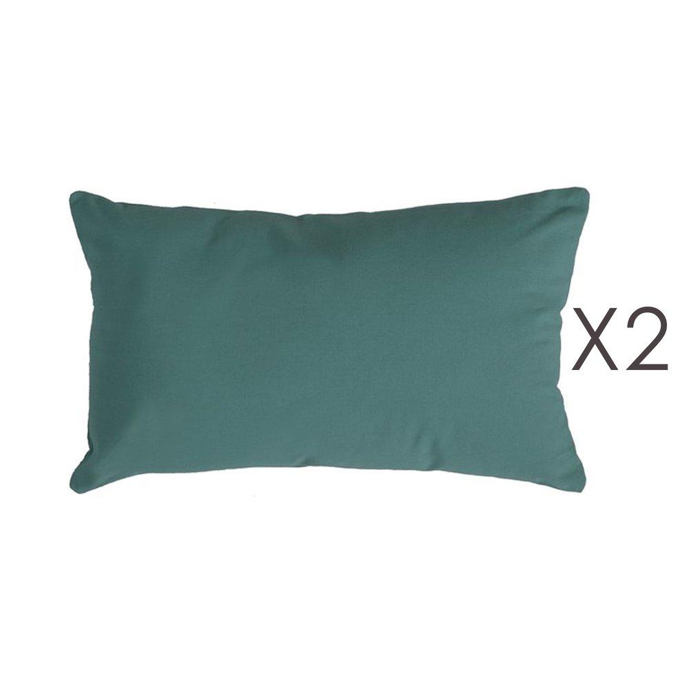 Coussin - Lot de 2 coussins 50x30 cm en coton vert foncé - YUNI photo 1