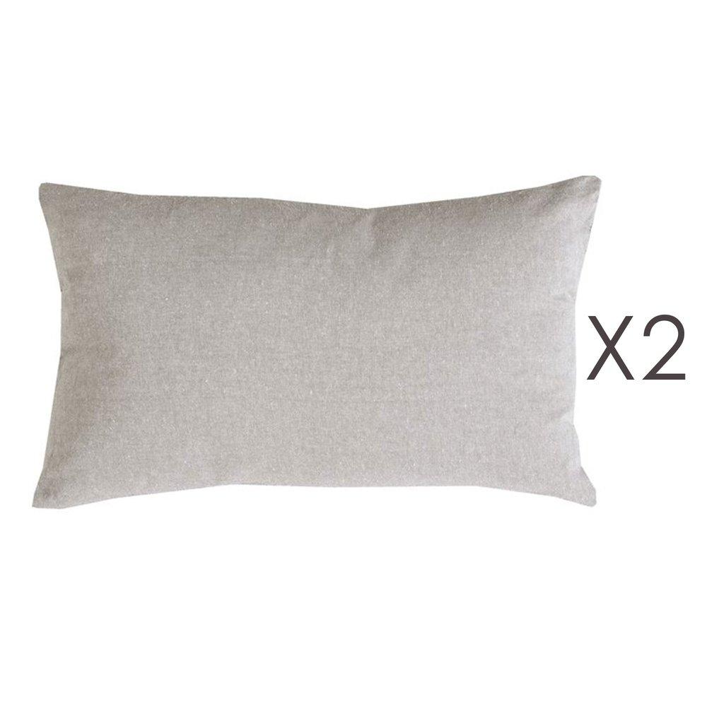 Coussin - Lot de 2 coussins 50x30 cm en coton gris - YUNI photo 1