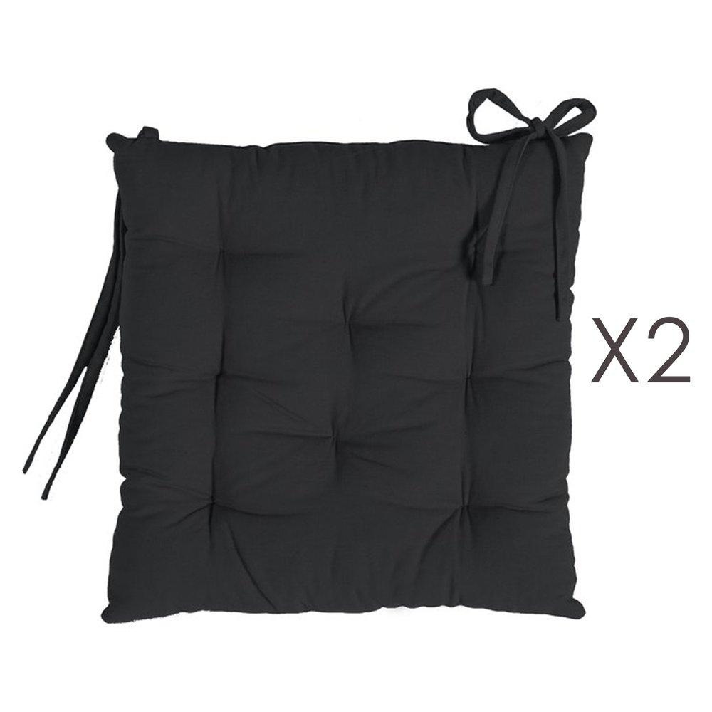 Linge de table - Lot de 2 galettes de chaise 40x40 cm en coton noir - YUNI photo 1