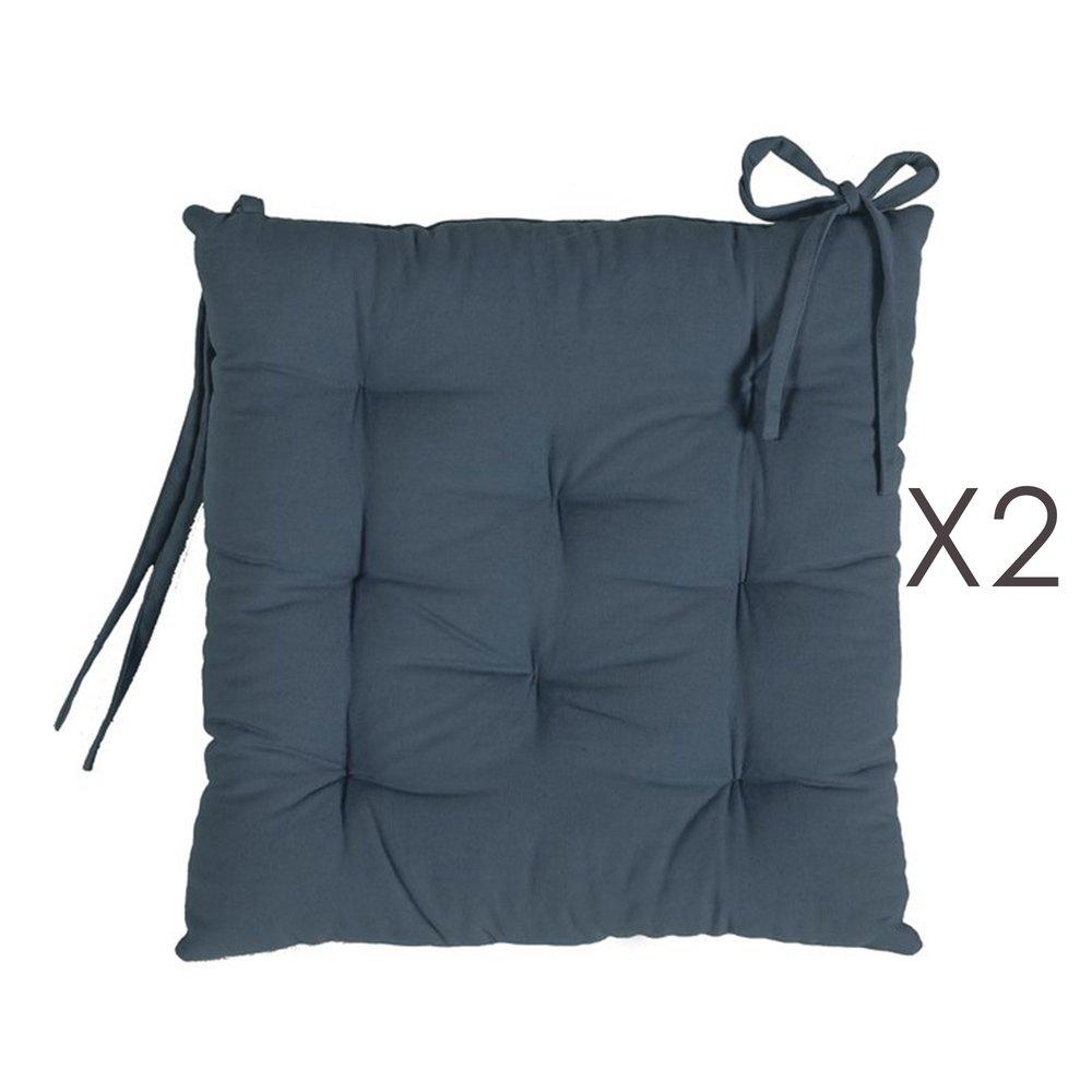 Linge de table - Lot de 2 galettes de chaise 40x40 cm en coton bleu foncé - YUNI photo 1