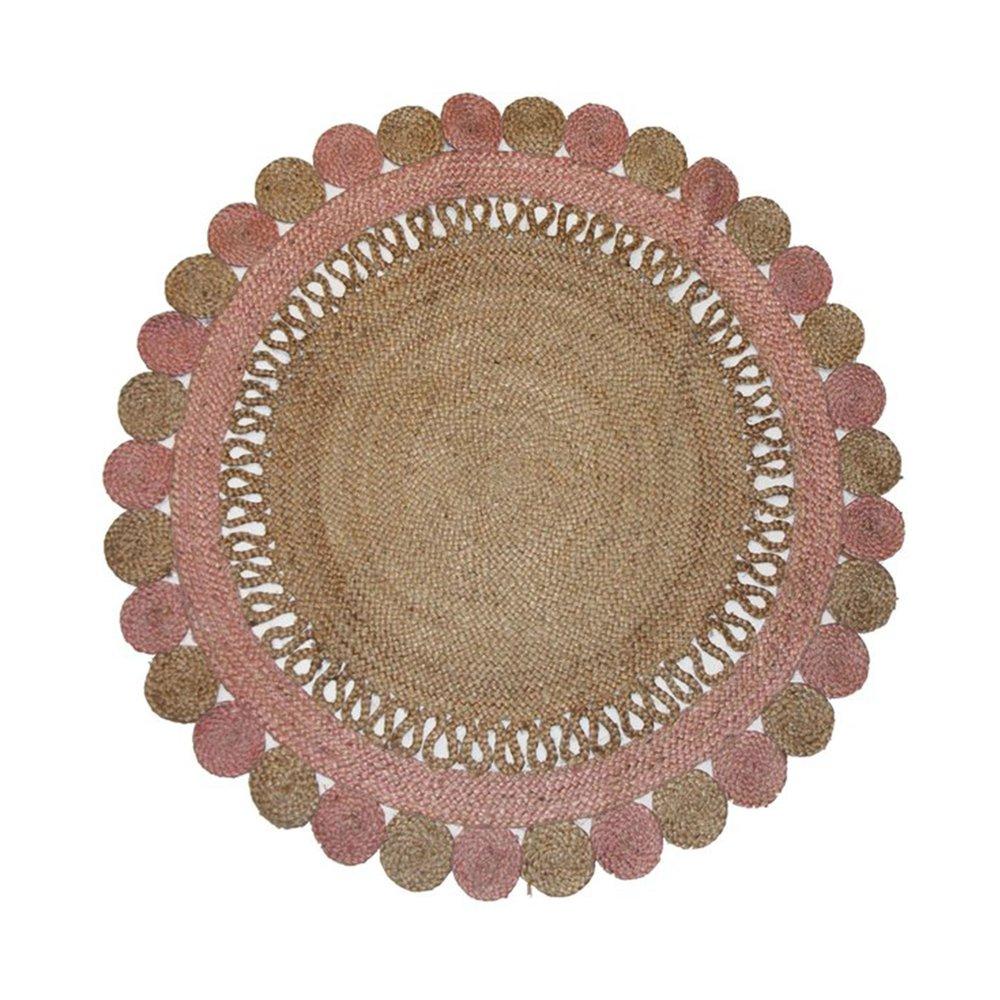 Tapis - Tapis rond 120 cm forme rosace en juste rose et marron photo 1