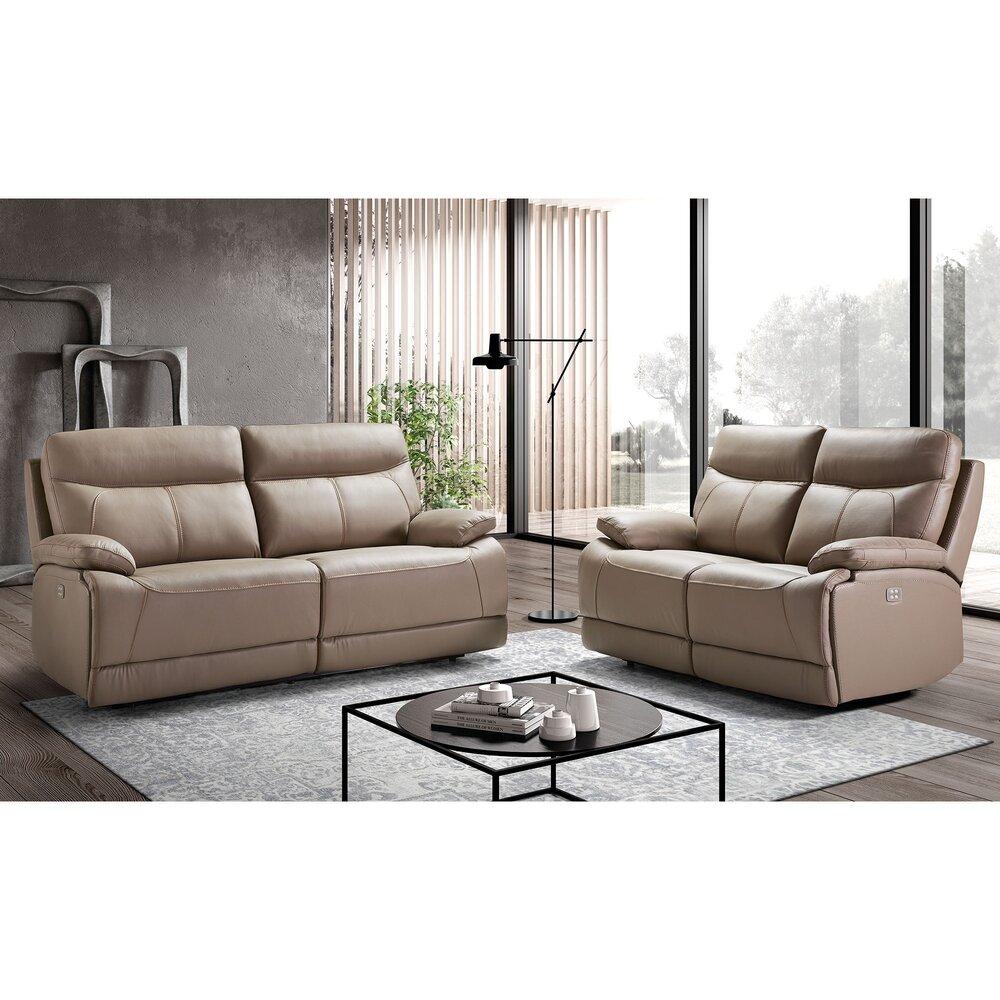 Canapé de relaxation - Ensemble de canapés de relaxation 3+2 places en cuir gris photo 1