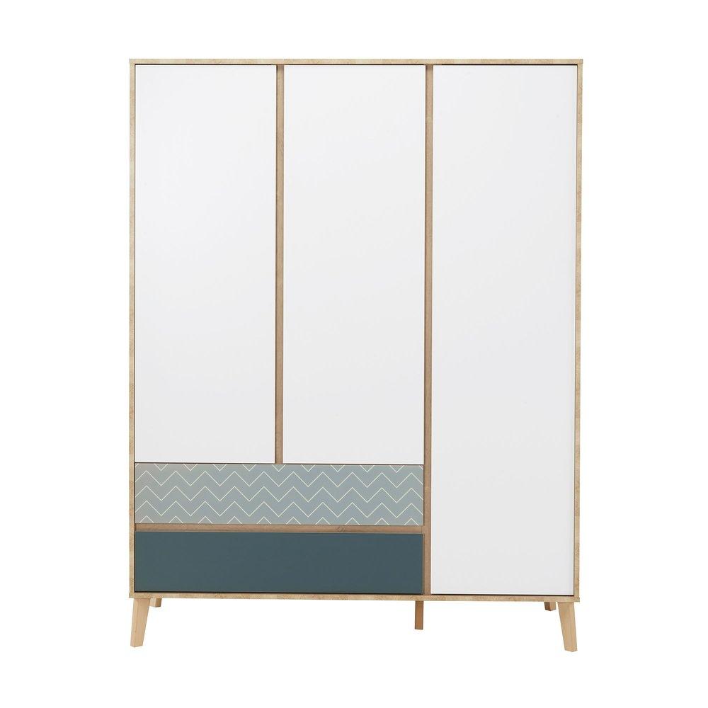 Armoire - Armoire 3 portes et 2 tiroirs chêne clair, blanc et bleu - JASON photo 1