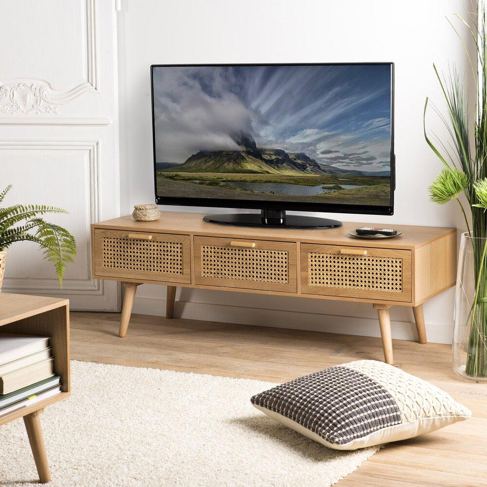 Meuble Tv 3 Couleurs En Rotin Et Bois Naturel Maguy Maison Et Styles