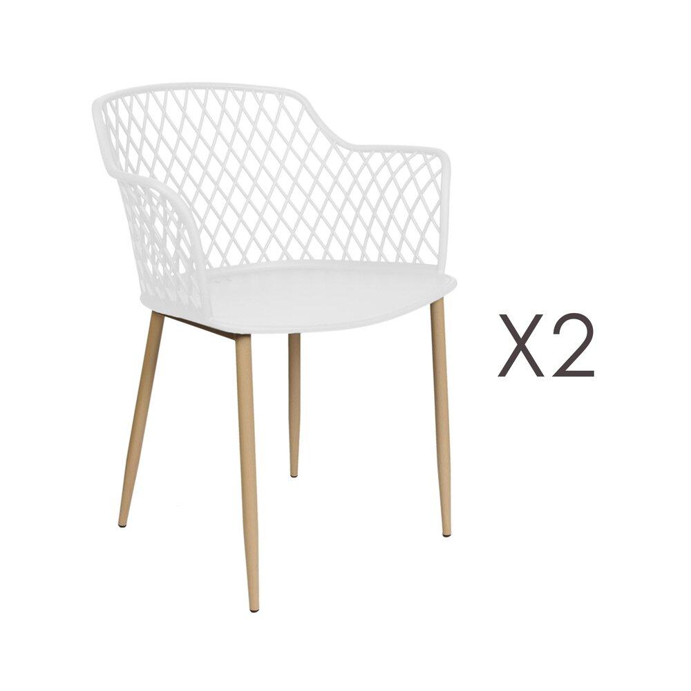 Meuble de jardin - Lot de 2 fauteuils de jardin 54x62x80 cm blanc - MALLY photo 1