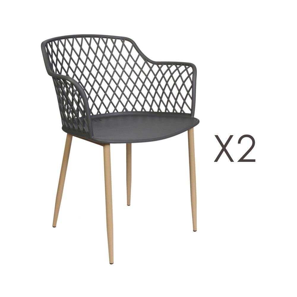 Meuble de jardin - Lot de 2 fauteuils de jardin 54x62x80 cm gris - MALLY photo 1