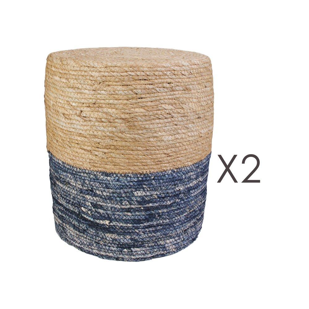 Pouf - Lot de 2 poufs ronds 35x41 cm naturel et bleu photo 1