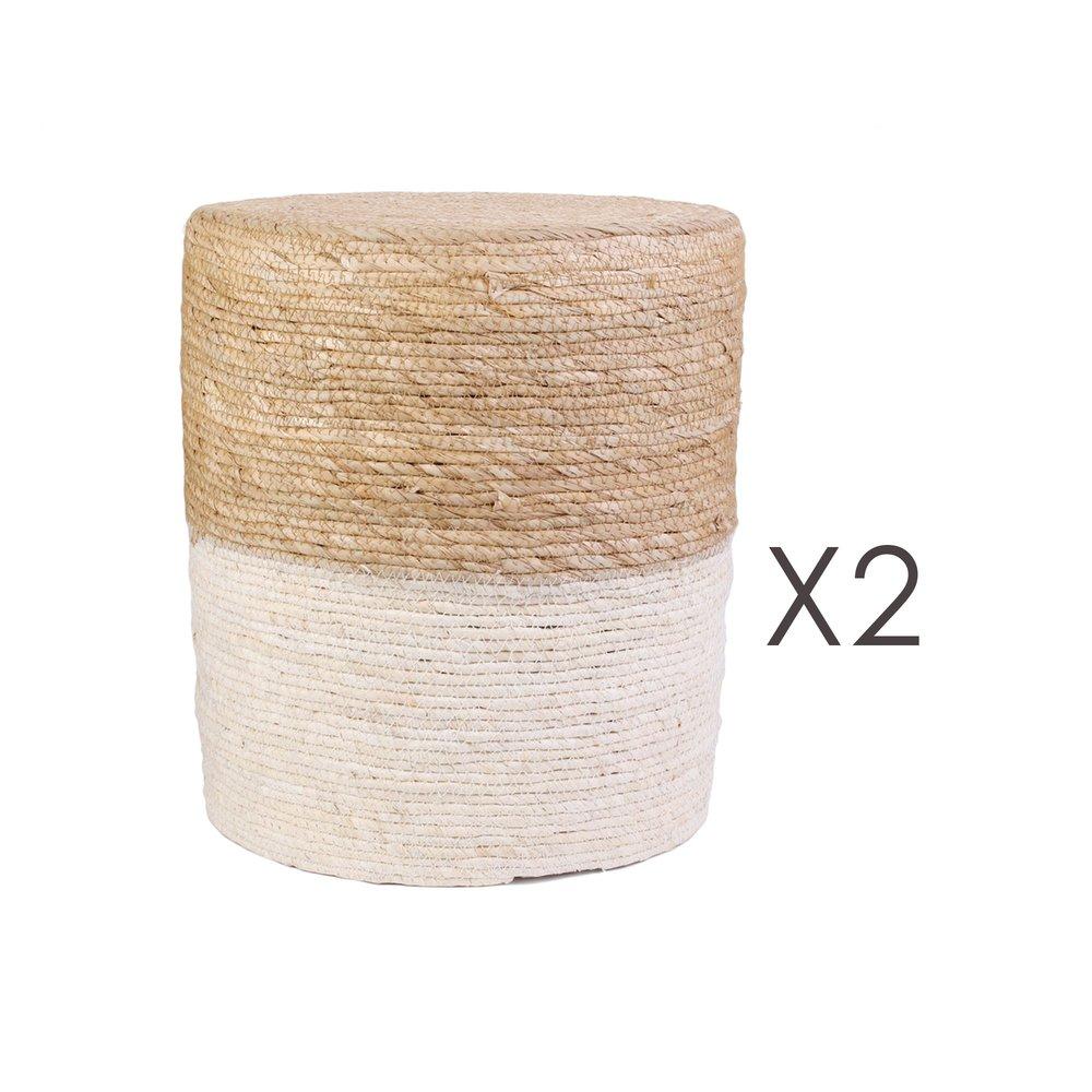 Pouf - Lot de 2 poufs ronds 35x41 cm naturel et blanc photo 1