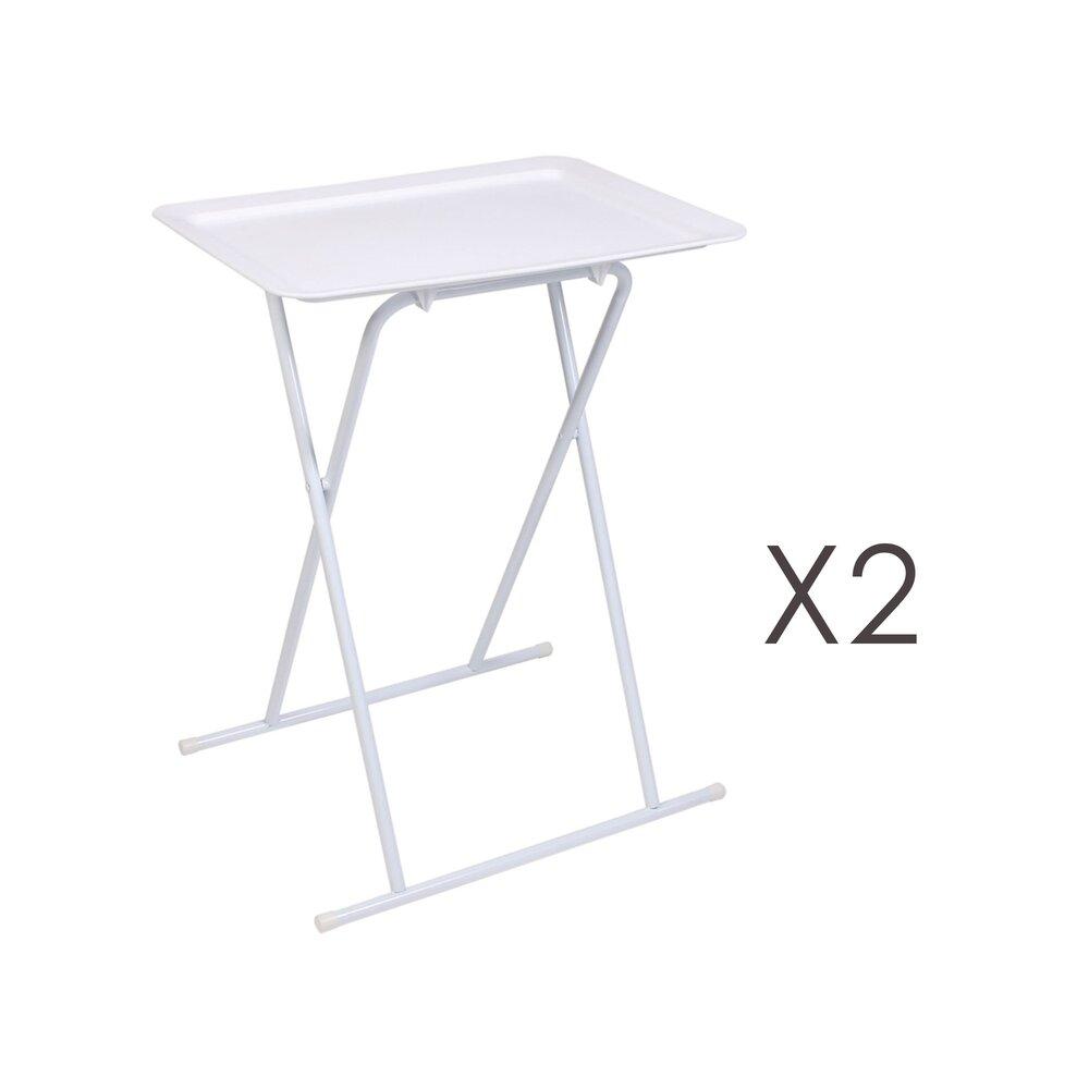 Table basse - Lot de 2 tables d'appoint pliantes 52x37x66 cm blanches photo 1