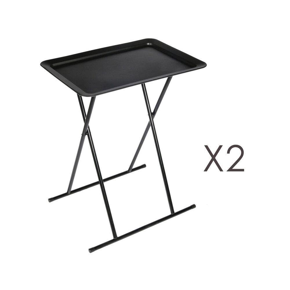 Table basse - Lot de 2 tables d'appoint pliantes 52x37x66 cm noires photo 1