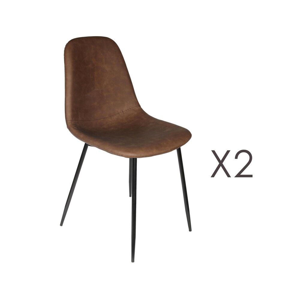 Chaise - Lot de 2 chaises 54,2x44x85 cm en PU marron - AMBRE photo 1