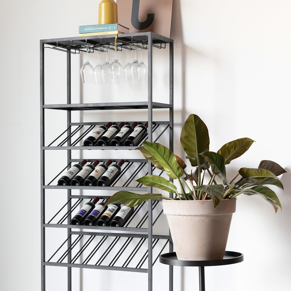 Bar - Meuble range-bouteilles 75x35x180 cm en métal noir - CANTOR photo 1