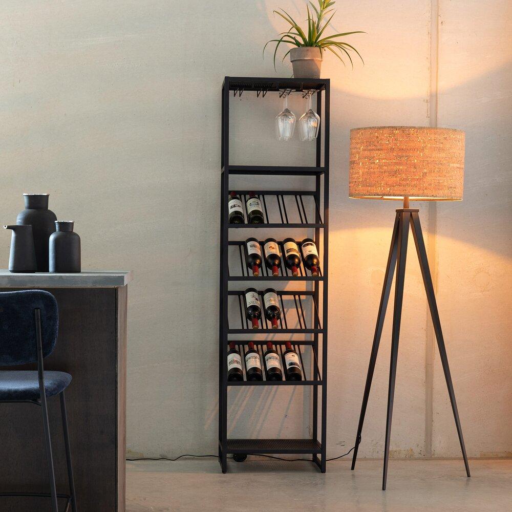 Bar - Meuble range-bouteilles 45x35x180 cm en métal noir - CANTOR photo 1