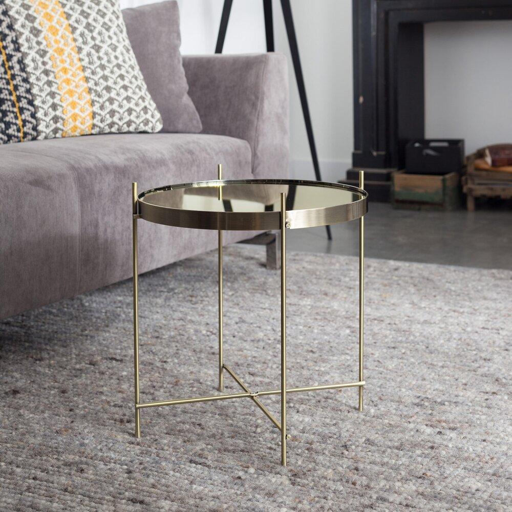 Table basse - Table d'appoint ronde 43 cm en verre et métal laiton - CUPID photo 1